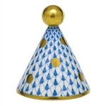 Herend Party Hat Figurine Blue Fishnet