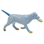 Herend Frisbee Dog Figurine Blue Fishnet