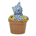 Herend Flower Pot Kitty Cat Figurine Blue Fishnet