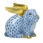 Herend Angel Bunny Rabbit Figurine Blue Fishnet