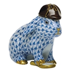 Herend Sherlock Bunny Rabbit Figurine Blue Fishnet