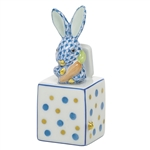 Herend Jack in the Box Bunny Rabbit Figurine Blue Fishnet