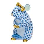 Herend Mouse with Bow Figurine Blue Fishnet