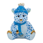 Herend Winter Bear Figurine Blue Fishnet