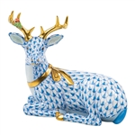 Herend Christmas Deer Lying Figurine Blue Fishnet