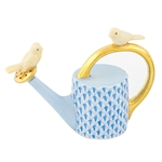 Herend Watering Can with Birds Figurine Blue Fishnet