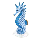 Herend Seahorse on Scallop Shell Blue Fishnet