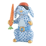 Herend Pirate Bunny Rabbit Blue Fishnet