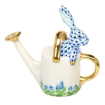 Herend Figurine Watering Can Bunny Rabbit Sapphire Fishnet
