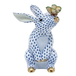 Herend Bunny with Butterfly Figurine Sapphire Fishnet