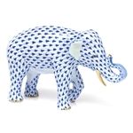 Herend Asian Elephant Figurine Sapphire Fishnet