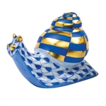 Herend Baby Snail Figurine Sapphire Fishnet