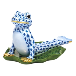 Herend Figurine Yoga Frog in Cobra Pose Sapphire Fishnet