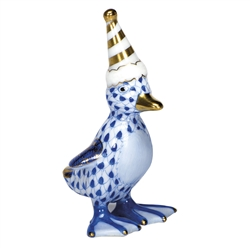 Herend Figurine Party Duckling Sapphire Fishnet