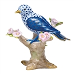 Herend Bird Figurine Mountain Bunting Sapphire Fishnet