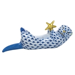Herend Figurine Sea Otter With Starfish Sapphire Fishnet