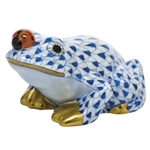 Herend Figurine Frog With Ladybug Sapphire Fishnet