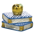 Herend Figurine Apple on Books Sapphire Fishnet