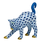 Herend Figurine Arched Kitty Cat Sapphire Fishnet