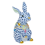 Herend Bunny with Christmas Lights Figurine Sapphire Fishnet