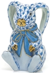 Herend Bunny Rabbit Ears Figurine Sapphire Fishnet