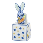 Herend Jack in the Box Bunny Rabbit Figurine Sapphire Fishnet