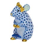 Herend Mouse with Bow Figurine Sapphire Fishnet