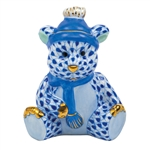 Herend Winter Bear Figurine Sapphire Fishnet