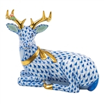 Herend Christmas Deer Lying Figurine Sapphire Fishnet