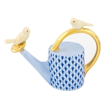 Herend Watering Can with Birds Figurine Sapphire Fishnet