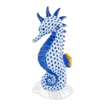 Herend Seahorse on Scallop Shell Sapphire Fishnet