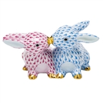 Herend Kissing Bunnies Figurine Blue and Raspberry Fishnet