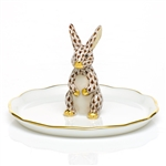 Herend Figurine Bunny Ring Holder Chocolate Fishnet