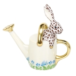 Herend Figurine Watering Can Bunny Rabbit Chocolate Fishnet