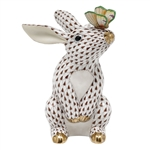 Herend Bunny with Butterfly Figurine Chocolate Fishnet