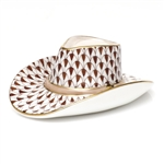 Herend Cowboy Hat Figurine Chocolate Fishnet