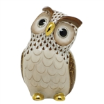 Herend Large Owl Bird Figurine Chocolate Fishnet