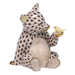 Herend Figurine Baby Bear with Bird Chocolate Fishnet