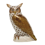 Herend Figurine Great Horned Owl Chocolate Fishnet