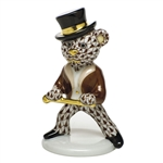 Herend Figurine Tap Dance Bear Chocolate Fishnet