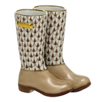 Herend Figurine Rain Boots Chocolate Fishnet