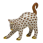 Herend Figurine Arched Kitty Cat Chocolate Fishnet