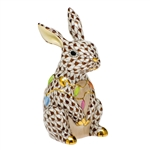 Herend Bunny with Christmas Lights Figurine Chocolate Fishnet