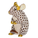 Herend Mouse with Bow Figurine Chocolate Fishnet