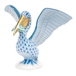 Herend Pelican with Fish Figurine Multicolor Fishnet