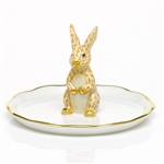 Herend Figurine Bunny Ring Holder Butterscotch Fishnet