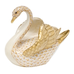 Herend Swan Figurine Butterscotch Fishnet