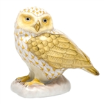 Herend Figurine Burrowing Owl Butterscotch Fishnet