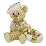 Herend Figurine Sailor Bear Butterscotch Fishnet