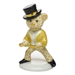 Herend Figurine Tap Dance Bear Butterscotch Fishnet